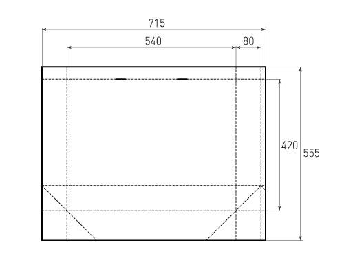 Штамп для вырубки горизонтального бумажного пакета g 540-420-160 (1 шт. на штампе). Привью 500x375 пикселов