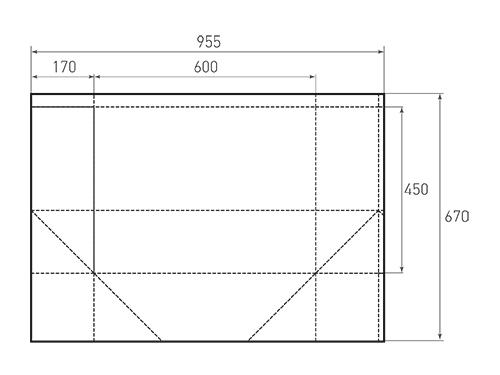 Штамп для вырубки горизонтального бумажного пакета g 600-450-340 (1 шт. на штампе). Привью 500x375 пикселов.
