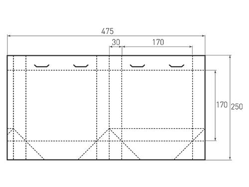 Штамп для вырубки квадратного бумажного пакета v 100-190-70 (1 шт. на штампе). Привью 500x375 пикселов.