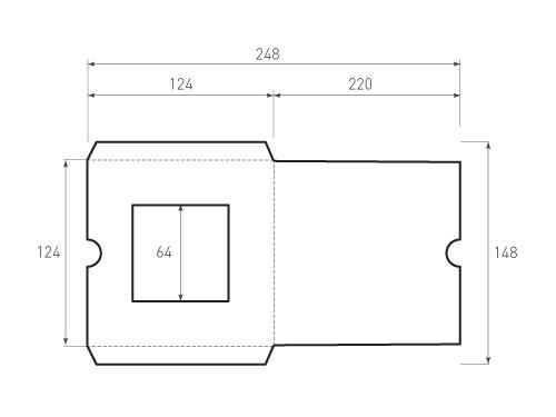 Штамп для вырубки квадратного конверта kd 124x124 (1 шт. на штампе). Привью 500x375 пикселов