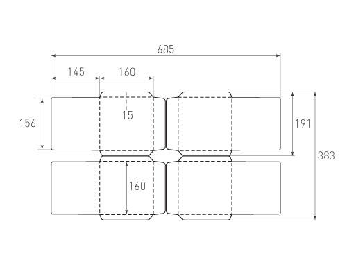 Штамп для вырубки квадратного конверта kd 160x160 (4 шт. на штампе). Привью 500x375 пикселов
