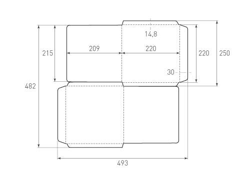 Штамп для вырубки квадратного конверта kd 220x220 (2 шт. на штампе). Привью 500x375 пикселов