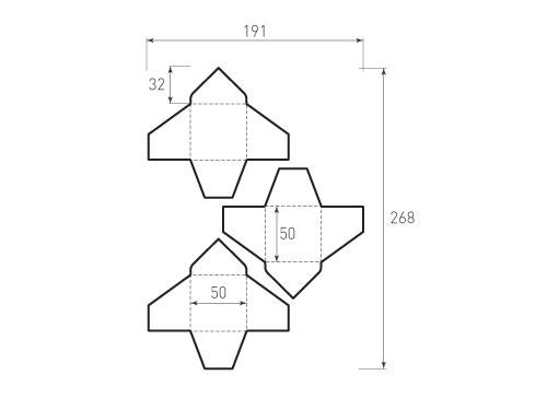 Штамп для вырубки квадратного конверта kd 50x50 (3 шт. на штампе). Привью 500x375 пикселов