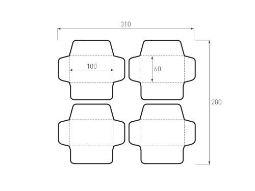 Штамп для вырубки горизонтального конверта kg 100x60 (4 шт. на штампе). Привью 500x375 пикселов
