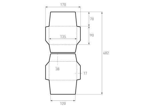 Штамп для вырубки горизонтального конверта kg 135x90 (2 шт. на штампе). Привью 500x375 пикселов