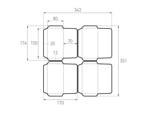 Штамп для вырубки горизонтального конверта kg 150x80 (4 шт. на штампе). Привью 500x375 пикселов