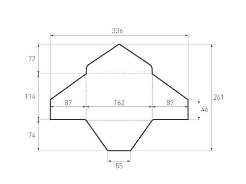 Штамп для вырубки горизонтального конверта kg 162x114 (1 шт. на штампе). Привью 500x375 пикселов