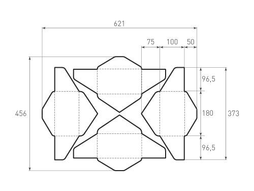 Штамп для вырубки горизонтального конверта kg 180x100 (4 шт. на штампе). Привью 500x375 пикселов