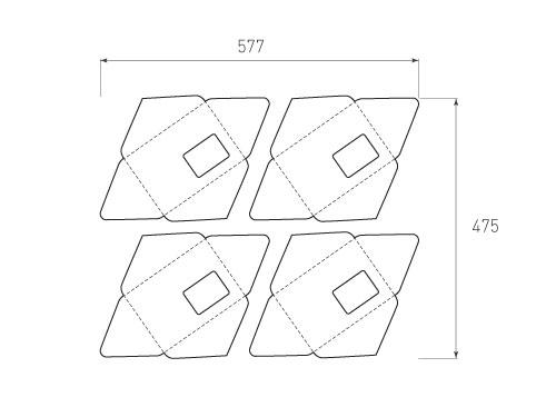Штамп для вырубки горизонтального конверта kg 180x127 (4 шт. на штампе). Привью 500x375 пикселов