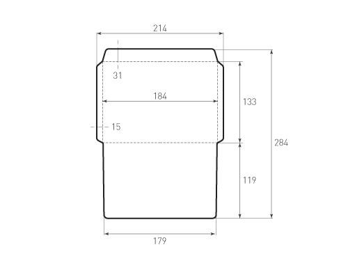 Штамп для вырубки горизонтального конверта kg 184x134 (1 шт. на штампе). Привью 500x375 пикселов