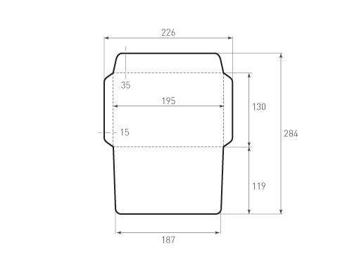 Штамп для вырубки горизонтального конверта kg 195x130 (1 шт. на штампе). Привью 500x375 пикселов