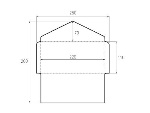 Штамп для вырубки горизонтального конверта kg 220x110 (1 шт. на штампе). Привью 500x375 пикселов