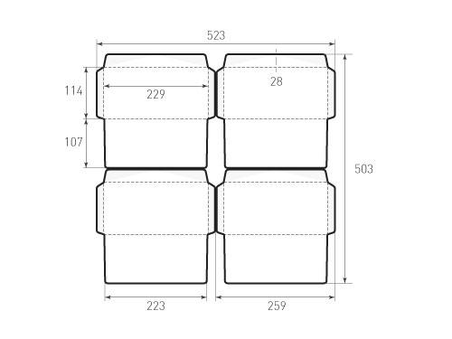 Штамп для вырубки горизонтального конверта kg 229x114 (4 шт. на штампе). Привью 500x375 пикселов