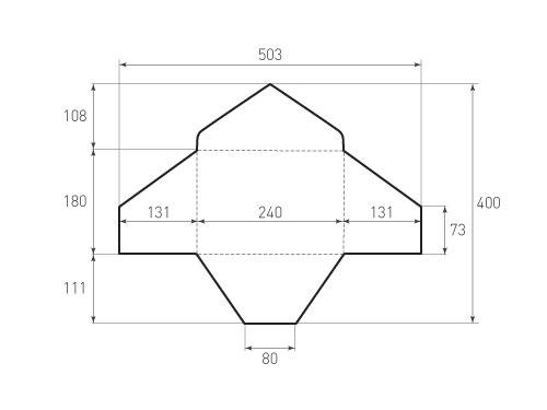 Штамп для вырубки горизонтального конверта kg 240x180 (1 шт. на штампе). Привью 500x375 пикселов