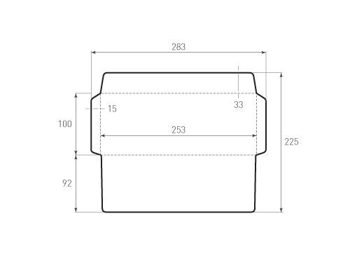 Штамп для вырубки горизонтального конверта kg 253x100 (1 шт. на штампе). Привью 500x375 пикселов