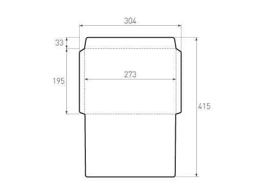 Штамп для вырубки горизонтального конверта kg 273x195 (1 шт. на штампе). Привью 500x375 пикселов