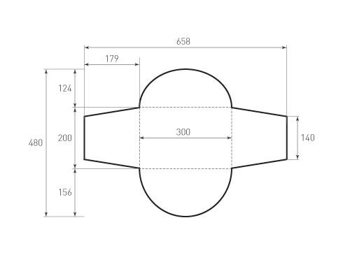 Штамп для вырубки горизонтального конверта kg 300x200 (1 шт. на штампе). Привью 500x375 пикселов