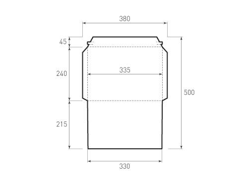 Штамп для вырубки горизонтального конверта kg 335x240 курьерский (1 шт. на штампе). Привью 500x375 пикселов