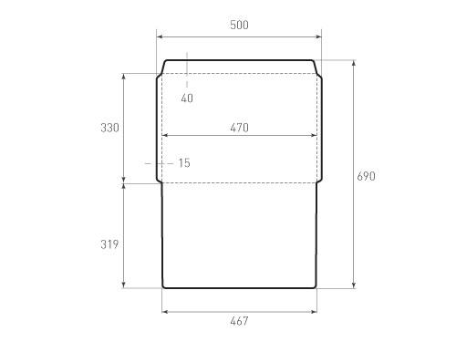 Штамп для вырубки горизонтального конверта kg 470x330 (1 шт. на штампе). Привью 500x375 пикселов