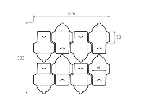 Штамп для вырубки горизонтального конверта kg 60x50 (8 шт. на штампе). Привью 500x375 пикселов