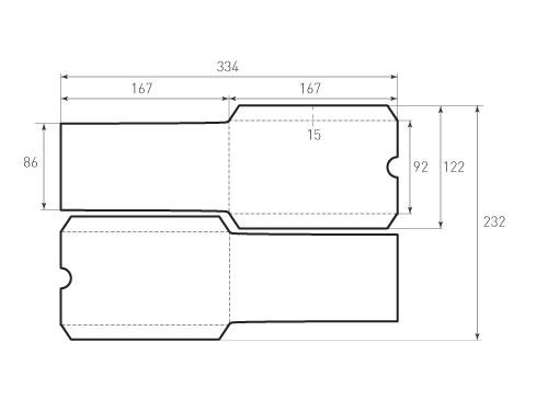 Штамп для вырубки вертикального конверта kv 92x167 (2 шт. на штампе). Привью 500x375 пикселов