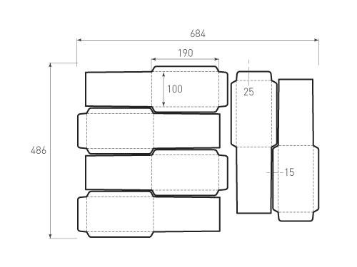 Штамп для вырубки вертикального конверта kv 102x152 (6 шт. на штампе). Привью 500x375 пикселов