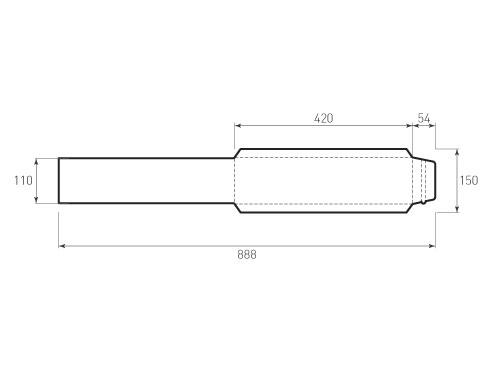 Штамп для вырубки вертикального конверта kv 110x420 курьерский (1 шт. на штампе). Привью 500x375 пикселов
