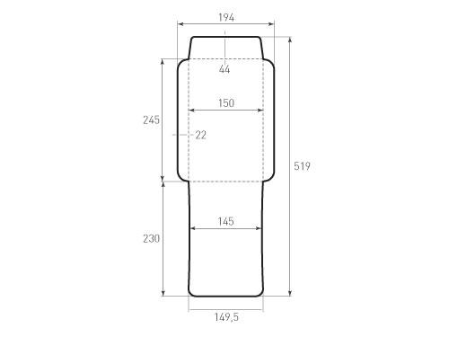 Штамп для вырубки вертикального конверта kv 150x245 (1 шт. на штампе). Привью 500x375 пикселов