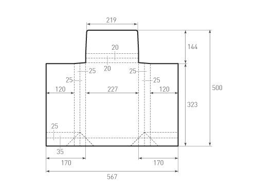 Штамп для вырубки горизонтального конверта kv 227x325x50 (1 шт. на штампе). Привью 500x375 пикселов