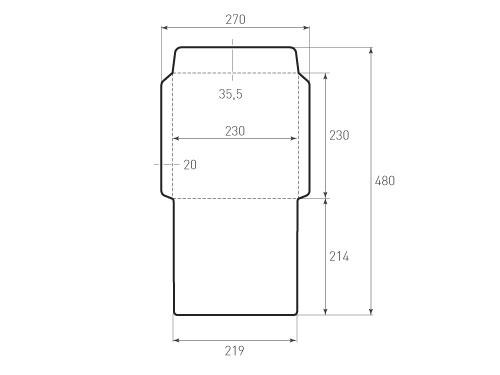 Штамп для вырубки вертикального конверта kv 230x230 (1 шт. на штампе). Привью 500x375 пикселов