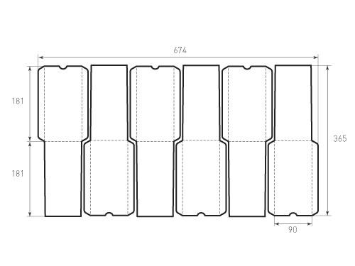 Штамп для вырубки вертикального конверта kv 90x180 (6 шт. на штампе)
