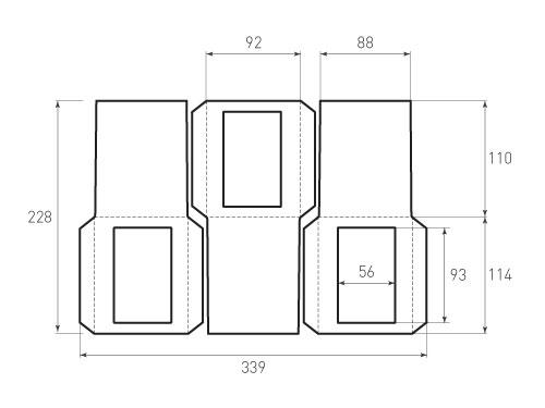 Штамп для вырубки вертикального конверта kv 92x114 (3 шт. на штампе). Привью 500x375 пикселов