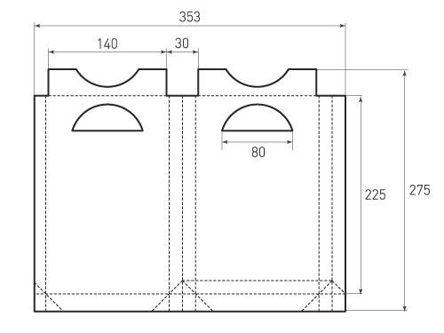Штамп для вырубки вертикального бумажного пакета v 140-225-30 (1 шт. на штампе). Привью 500x375 пикселов