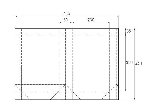 Штамп для вырубки вертикального бумажного пакета v 230-350-80 (1 шт. на штампе). Привью 500x375 пикселов