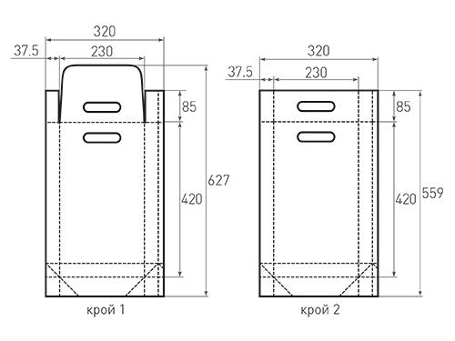 Штамп для вырубки вертикального бумажного пакета v 230-420-75 (1 шт. на штампе). Привью 500x375 пикселов.