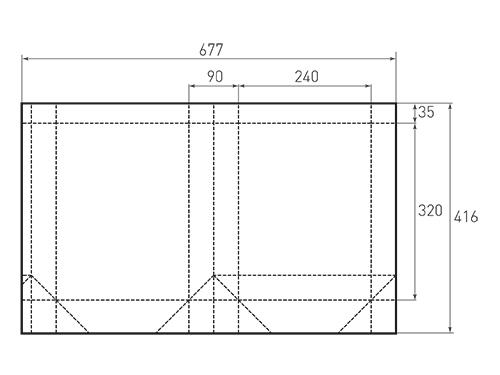 Штамп для вырубки вертикального бумажного пакета v 240-320-90 (1 шт. на штампе). Привью 500x375 пикселов.