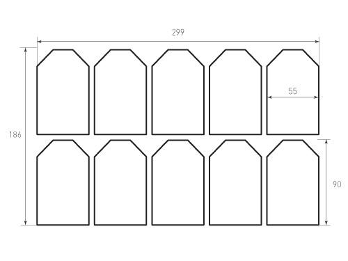 Штамп для вырубки Бирки 55x90. 10 штук. Привью 500x375 пикселов