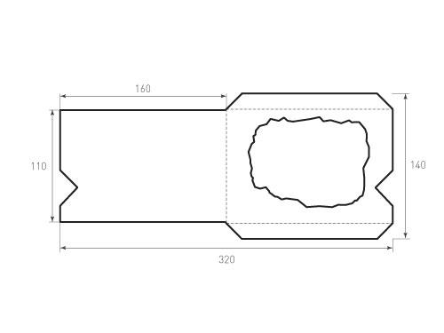 Штамп для вырубки горизонтального конверта kg 160x110 с окном. Привью 500x375 пикселов.