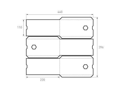 Штамп для вырубки вертикального конверта kv 110x220 3 штуки. Привью 500x375 пикселов.