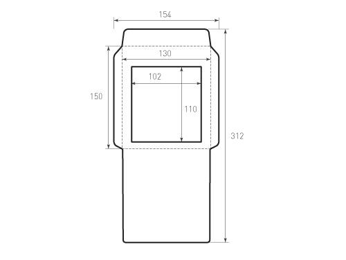 Штамп для вырубки вертикального конверта kv 130x150 с окном. Привью 500x375 пикселов.