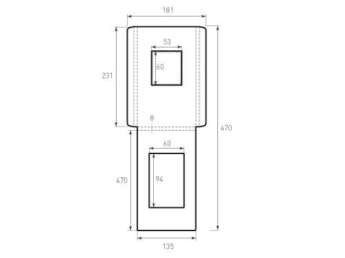 Штамп для вырубки вертикального конверта kv 135x231x8 с окном. Привью 500x375 пикселов.