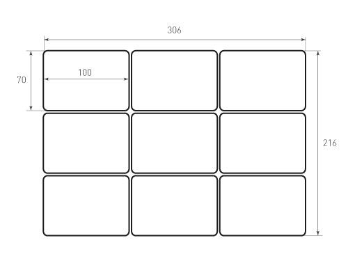Штамп для вырубки карточки скругление 70x100 9штук, р5. Привью 500x375 пикселов