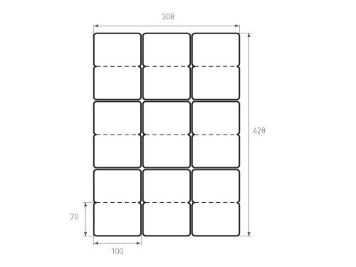 Штамп для вырубки карточки скругление 70x100 9штук, р6, биговка. Привью 500x375 пикселов