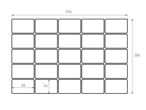 Штамп для вырубки карточки скругление 86x54 25 штук р4. Привью 500x375 пикселов