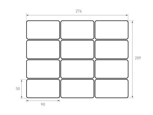 Штамп для вырубки карточки скругление 90x50 12 штук р5. Привью 500x375 пикселов