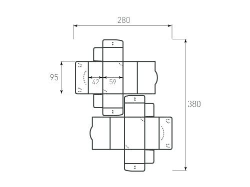 Штамп для коробки Box 1k Для визиток 95x59x42. Привью 500x375 пикселов