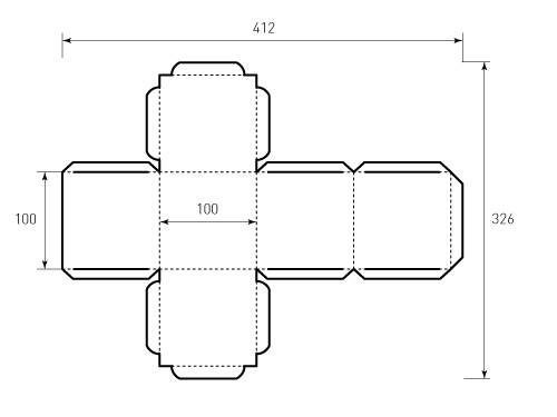Штамп для коробки 1к 100x100x100 куб. Привью 500x375 пикселов