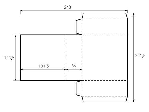 Штамп для коробки 1К 103,5x103,5x36 Версия 1 ВР. Привью 500x375 пикселов