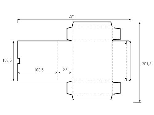Штамп для коробки 1К 103,5x103,5x36 Версия 2 ВР. Привью 500x375 пикселов