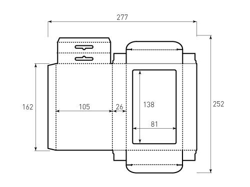 Штамп для коробки 1К 105x162x26 большое окно. Привью 500x375 пикселов